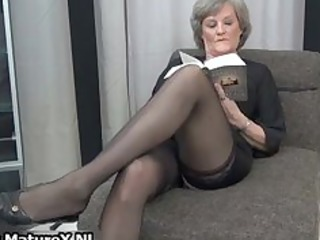 older housewife in hot black nylons part8