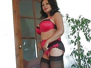 enormous chested dark haired milf in lingerie