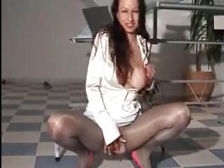 piss satin milf in sexy shiny dress