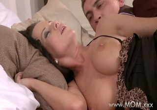mommy busty dark brown milf takes his length