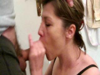 slutwife sonya - washroom blowjob and facial