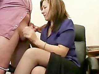 hot granny secretary jerks the jizz from bosses