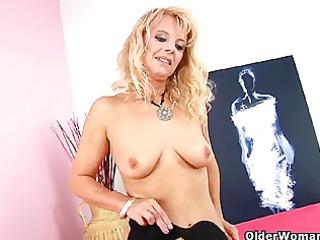 golden-haired grandma in darksome stockings bonks