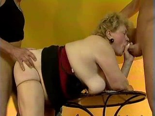 chubby old grandma acquires fucked by two
