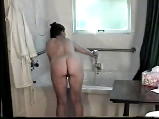 freckled redhead milf plays with her nipps in bath