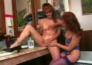 older housewife shaving &; playing with