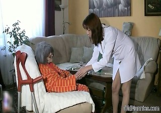busty old woman gets her body rubbed