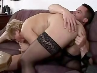 little breasted granny in lace top stockings bonks