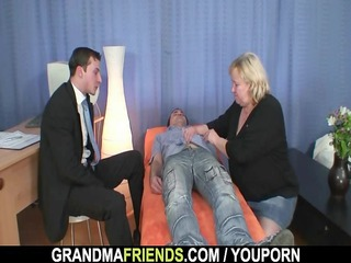 granny gives double oral stimulation then