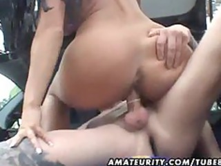 busty amateur wife screwed in a car with spunk