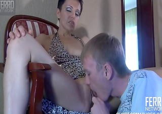 russian mature milf seduced youthful lad