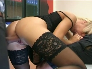 golden-haired milf secretary acquires double cock