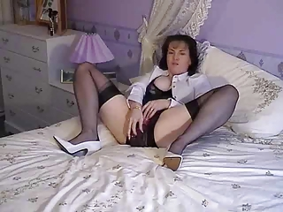 granny dildoing in crotchless pants and talking