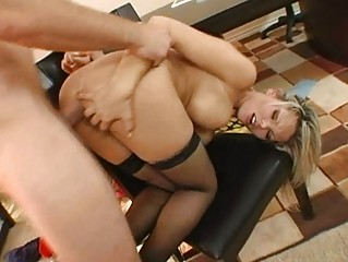 sweet breasty blond milf gets her anus drilled