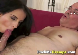 pleasing muff team-fucked by horny old man