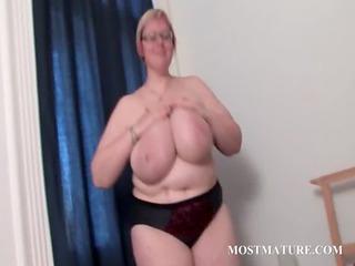 mature big beautiful woman in glasses works her