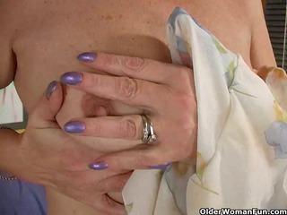 redheaded granny masturbates her unshaved vagina