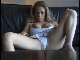 sexy busty milf golden-haired masturbates as she
