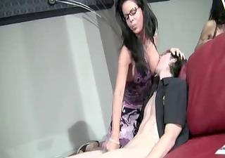 stepmom jerking with cum eating intructions