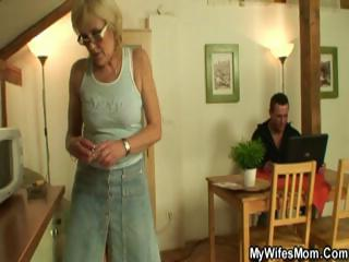 horny blonde granny sucks and fucks her
