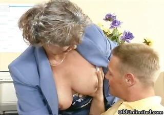 obscene old woman getting her hairy fur pie