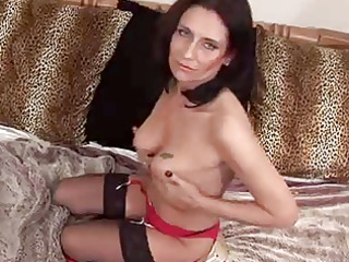 aged tracey widens in black nylons