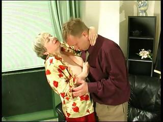 chubby golden-haired granny uses her massive