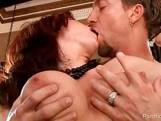 breasty redhead mother i in nylons receives