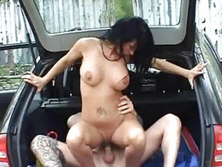 breasty dilettante wife screwed in a car with