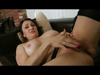 mother i in dark underware and nylons fingers her