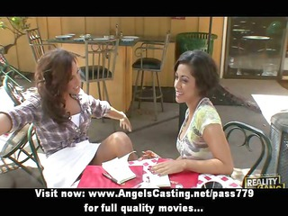 pleasant and sexy lesbian pair undressing and