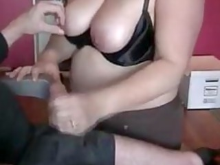 plump wife giving awesome handjob to husband