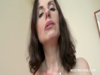 slutty mature in pantyhose rubs cookie and tits