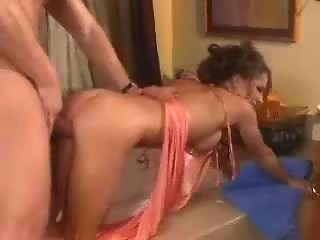 milf in underware enjoys threesome doggy style