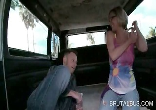 pregnant blond stripping nude in the sex bus