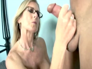 mature with glasses jerking off handyman