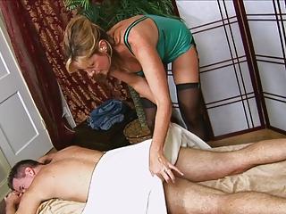 lad receives a handjob from hot mammas