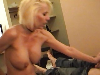 wicked blonde momma in belt and nylons rides hard