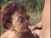 granny gets screwed by young guy in the woods -