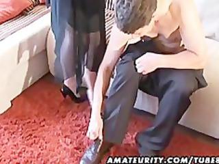 busty amateur milf sucks and fucks with cum on