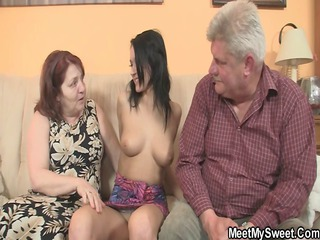 wicked girl fucking with her bf old parents