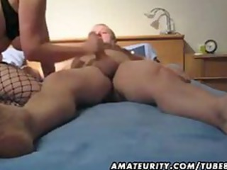 older wife toying fucking and giving handjob with