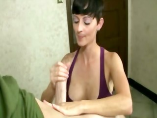 this slut can making him hard for her own pleasure