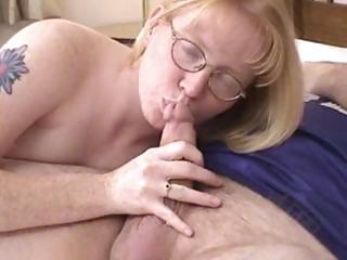 blonde milf wearing glasses blows and screwed