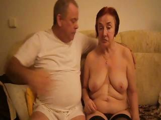 concupiscent old redheaded granny sucks her