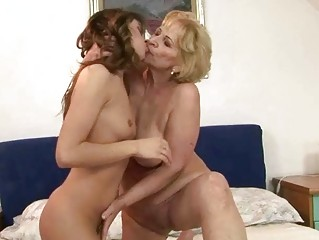 granny and hot girl enjoying lesbian sex