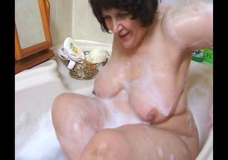 plump grandma in bathroom