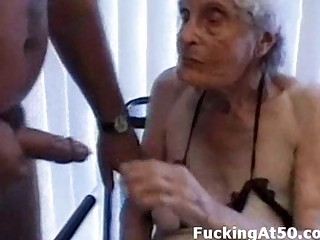 senile wrinkled granny gives fellatio and is