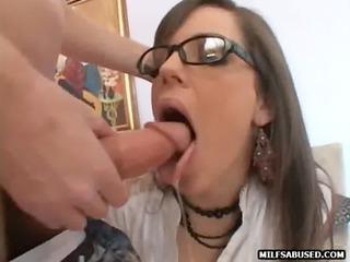 milf babe wearing glasses sucks ramrod in advance