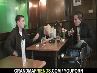 two studs group-sex totally drunk granny